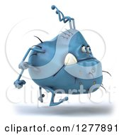 Clipart Of A 3d Blue Germ Monster Running To The Right Royalty Free Illustration