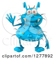 Clipart Of A 3d Blue Germ Virus Waving Royalty Free Illustration