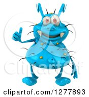 Clipart Of A 3d Blue Germ Virus Holding A Thumb Up Royalty Free Illustration