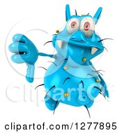 Clipart Of A 3d Blue Germ Virus Holding Up A Thumb Down Royalty Free Illustration