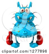Clipart Of A 3d Blue Germ Virus Wearing Boxing Gloves Royalty Free Illustration