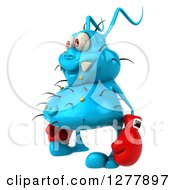 Clipart Of A 3d Blue Germ Virus Facing Left And Wearing Boxing Gloves Royalty Free Illustration