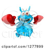 Clipart Of A 3d Blue Germ Virus Looking Up And Wearing Boxing Gloves Royalty Free Illustration