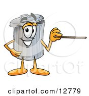 Clipart Picture Of A Garbage Can Mascot Cartoon Character Pointing At The Viewer