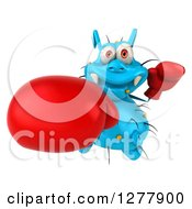 Clipart Of A 3d Blue Germ Virus Looking Up And Punching With Boxing Gloves Royalty Free Illustration