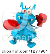 Clipart Of A 3d Blue Germ Virus Looking Up And Punching With Boxing Gloves 2 Royalty Free Illustration