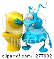 Clipart Of A 3d Blue Germ Virus Looking In A Toilet Royalty Free Illustration