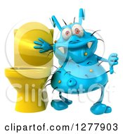 Clipart Of A 3d Blue Germ Virus Holding A Thumb Down By A Toilet Royalty Free Illustration
