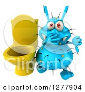 Clipart Of A 3d Blue Germ Virus Plugging His Nose And Holding A Thumb Down By A Toilet Royalty Free Illustration