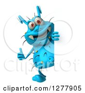 Clipart Of A 3d Blue Germ Virus Holding A Thumb Up Around A Sign Royalty Free Illustration