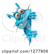 Clipart Of A 3d Blue Germ Virus Peeking Around A Sign Royalty Free Illustration