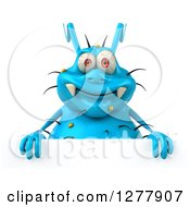 Clipart Of A 3d Blue Germ Virus Smiling Over A Sign Royalty Free Illustration