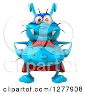 Clipart Of A 3d Blue Super Germ Virus Royalty Free Illustration