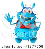 Clipart Of A 3d Blue Super Germ Virus Looking Up And Waving Royalty Free Illustration