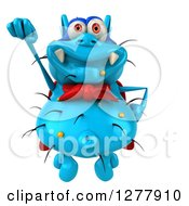 Clipart Of A 3d Blue Super Germ Virus Flying Royalty Free Illustration