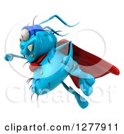 Clipart Of A 3d Blue Super Germ Virus Flying To The Left Royalty Free Illustration
