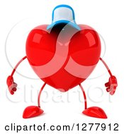 Clipart Of A 3d Heart Character Wearing A Baseball Cap Royalty Free Illustration
