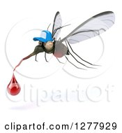 Clipart Of A 3d West Nile Virus Mosquito Wearing A Hat And Flying With A Blood Drop Royalty Free Illustration