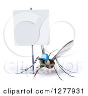Clipart Of A 3d West Nile Virus Mosquito Wearing A Hat Under A Blank Sign Royalty Free Illustration