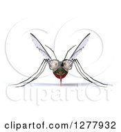 Clipart Of A 3d Bespectacled Mosquito Royalty Free Illustration