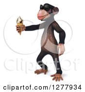 Clipart Of A 3d Chimp Monkey Wearing Sunglasses Facing Left And Holding Out An Ice Cream Cone Royalty Free Illustration