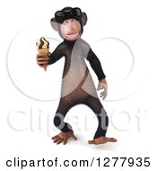 Clipart Of A 3d Chimp Monkey Wearing Sunglasses And Walking With An Ice Cream Cone Royalty Free Illustration