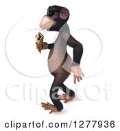 Clipart Of A 3d Chimp Monkey Wearing Sunglasses And Walking To The Left With An Ice Cream Cone Royalty Free Illustration