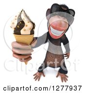 Clipart Of A 3d Chimp Monkey Wearing Sunglasses And Holding Up An Ice Cream Cone Royalty Free Illustration