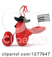 Clipart Of A 3d Happy Lobster Holding A Breton Flag Royalty Free Illustration