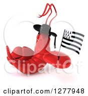 Clipart Of A 3d Happy Lobster Facing Left And Holding A Breton Flag Royalty Free Illustration by Julos