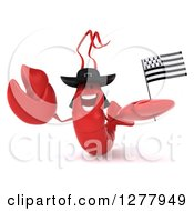 3d Welcoming Lobster Holding A Breton Flag