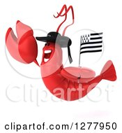 3d Happy Lobster Facing Left And Jumping With A Breton Flag