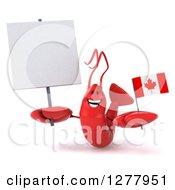 Clipart Of A 3d Happy Red Lobster Holding A Canadian Flag And Blank Sign Royalty Free Illustration