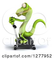 Clipart Of A 3d Green Gecko Exercising On A Spin Bike 3 Royalty Free Illustration