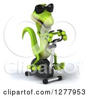 Clipart Of A 3d Green Gecko Wearing Sunglasses And Exercising On A Spin Bike Royalty Free Illustration