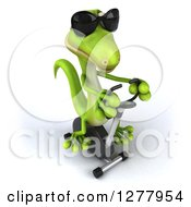 Clipart Of A 3d Green Gecko Wearing Sunglasses And Exercising On A Spin Bike 2 Royalty Free Illustration