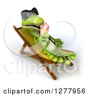 Clipart Of A 3d Gecko Lizard Wearing Sunglasses And Licking A Waffle Ice Cream Cone On A Chaise Lounge Royalty Free Illustration