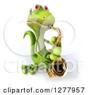 Clipart Of A 3d Green Gecko Looking Up And Playing A Saxophone Royalty Free Illustration