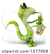 Clipart Of A 3d Green Gecko Wearing Sunglasses Facing Right And Playing A Saxophone Royalty Free Illustration