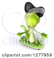 Clipart Of A 3d Green Gecko Wearing Sunglasses Looking Up And Skateboarding Royalty Free Illustration
