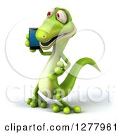 Clipart Of A 3d Green Gecko Facing Left And Talking On A Smart Phone Royalty Free Illustration