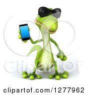 Clipart Of A 3d Green Gecko Wearing Sunglasses And Holding A Smart Phone Royalty Free Illustration