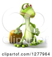 Clipart Of A 3d Green Gecko Walking And Pulling Luggage Royalty Free Illustration