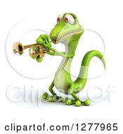 Clipart Of A 3d Green Gecko Facing Left And Playing A Trumpet Royalty Free Illustration