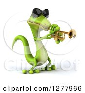 Clipart Of A 3d Green Gecko Wearing Sunglasses Facing Right And Playing A Trumpet Royalty Free Illustration