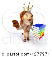 Clipart Of A 3d Male Lion King Holding Up A Thumb Down And A Stack Of Books Royalty Free Illustration