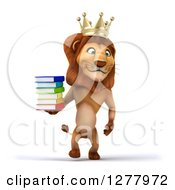 Clipart Of A 3d Male Lion King Walking With A Stack Of Books Royalty Free Illustration
