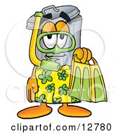 Clipart Picture Of A Garbage Can Mascot Cartoon Character In Green And Yellow Snorkel Gear