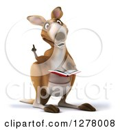 Clipart Of A 3d Kangaroo Holding Up A Finger And Reading A Book Royalty Free Illustration