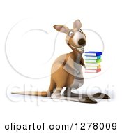 Clipart Of A 3d Kangaroo Facing Slightly Right And Holding A Stack Of Books Royalty Free Illustration